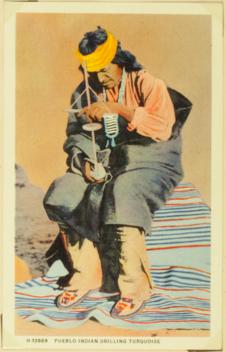 Pueblo indian drilling turquoise