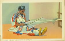 Pueblo girl weaving a sash, New Mexico