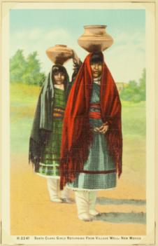 Santa Clara girls returning from village well, New Mexico