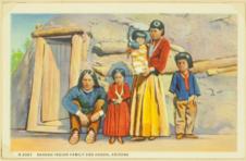 Navaho indian family and Hogan, Arizona