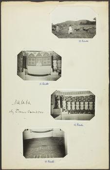 Dalaba. Chez Tierno Oumarou [banquette et mur décoré]