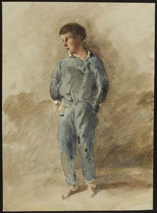 Recto : Portrait d'un garçon debout. Verso : Sans titre [personnages sur une...