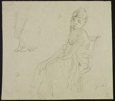 "Recto : Jeune fille, ""Djiala""Verso : Sans titre [paysage avec..."