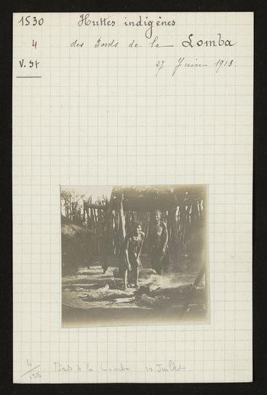 Huttes indigènes des bords de la Lomba, 27 juin 1913