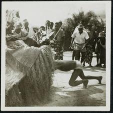 Le danseur entre dans le masque Batéké