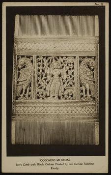 Ivory comb with hindu goddess flanked by two Garuda Pakshiyas