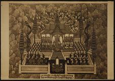 Indra au Paradis prie le Bodhisattva de descendre sur terre
