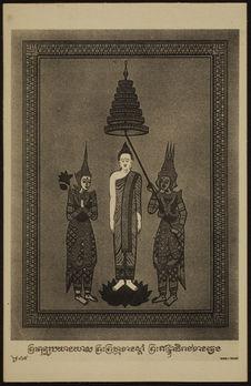 Le Bouddha descend du ciel entre Indra et Brahma