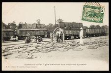 Expédition d'ivoire à la gare de Kinshasa