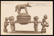 Coupe et couvercle en bois sculpté, ayant appartenu à Béhanzin
