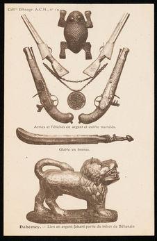 Lion en argent, armes, fétiches et glaive