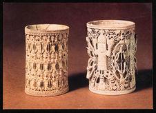 Two of the Oba of Benin's ivory armlets [deux des bracelets en ivoire de l'Oba...