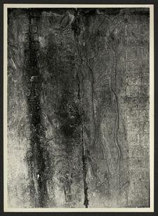 Palenque [un personnage et des hiéroglyphes en bas-relief]