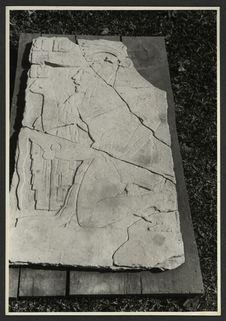 Palenque, bas-relief en pierre, trouvé devant la tour