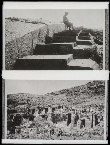 Kusillo-Jinkkina, escalier dans le roc. Ruines incaïques de Tambomachay