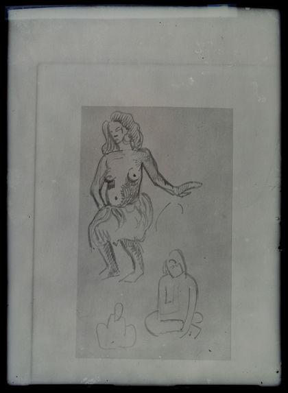 Danseuse tahitienne et deux études de femmes accroupies.
