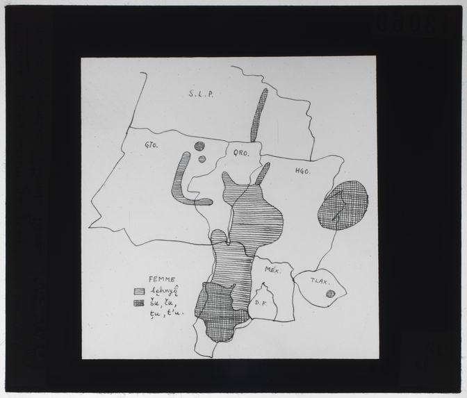 Distribution géographique du mot femme, famille Otomi-Pame