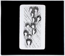 Silhouettes de mains fixées sur parois rocheuses [dessin]