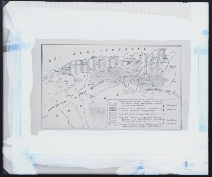 Répartition des faciès en Algérie et en Tunisie à l'époque du Turonien