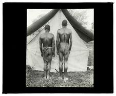 Types de Barotsés, rameurs du Zambèze [deux hommes de dos]