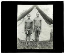 Types de Barotsés, rameurs du Zambèze [deux hommes de face]